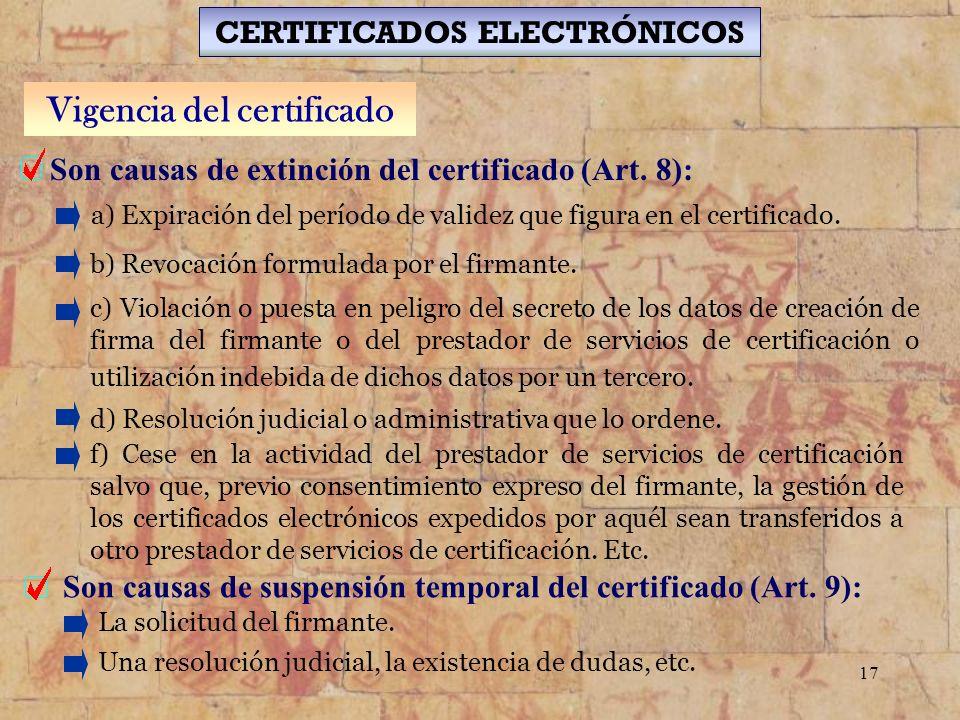 CERTIFICADOS ELECTRÓNICOS Vigencia del certificado