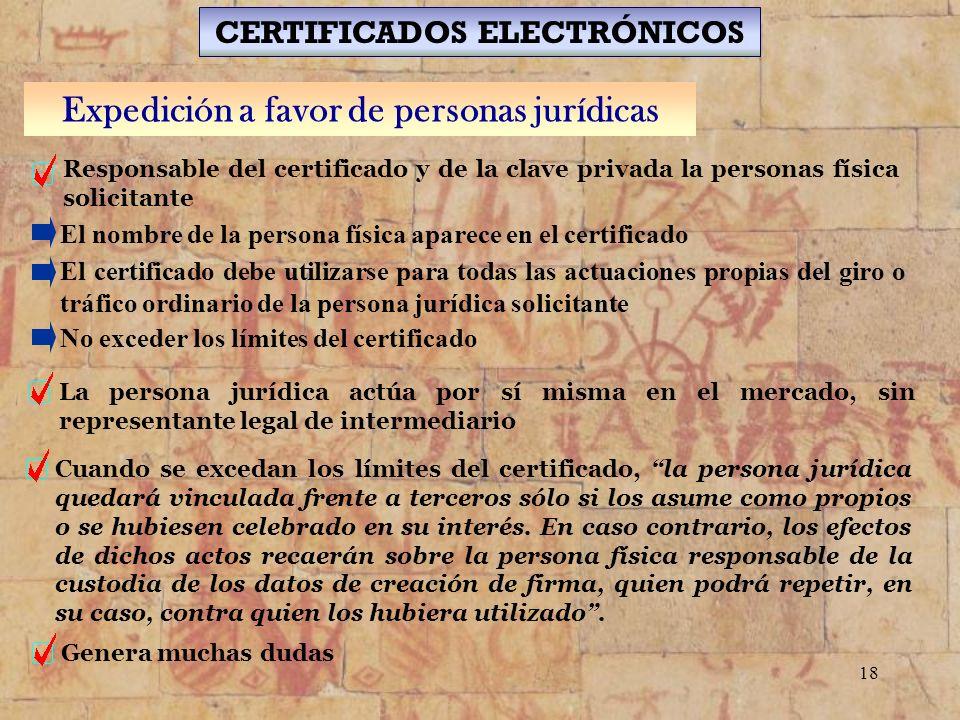 CERTIFICADOS ELECTRÓNICOS Expedición a favor de personas jurídicas