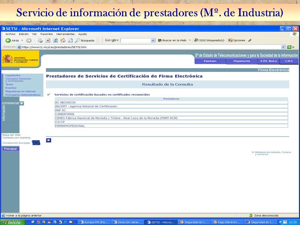 Servicio de información de prestadores (Mº. de Industria)