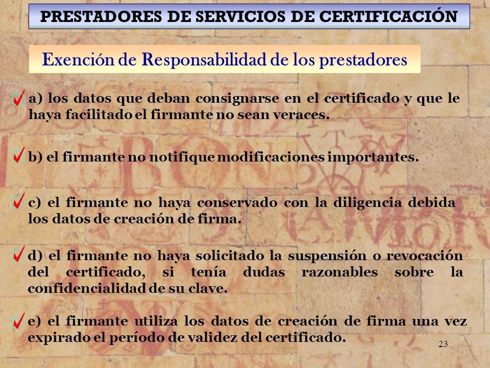 Exención de Responsabilidad de los prestadores