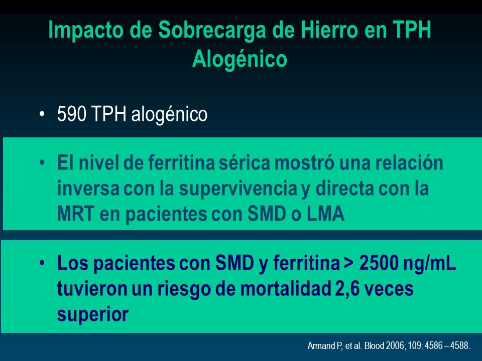 Impacto de Sobrecarga de Hierro en TPH Alogénico