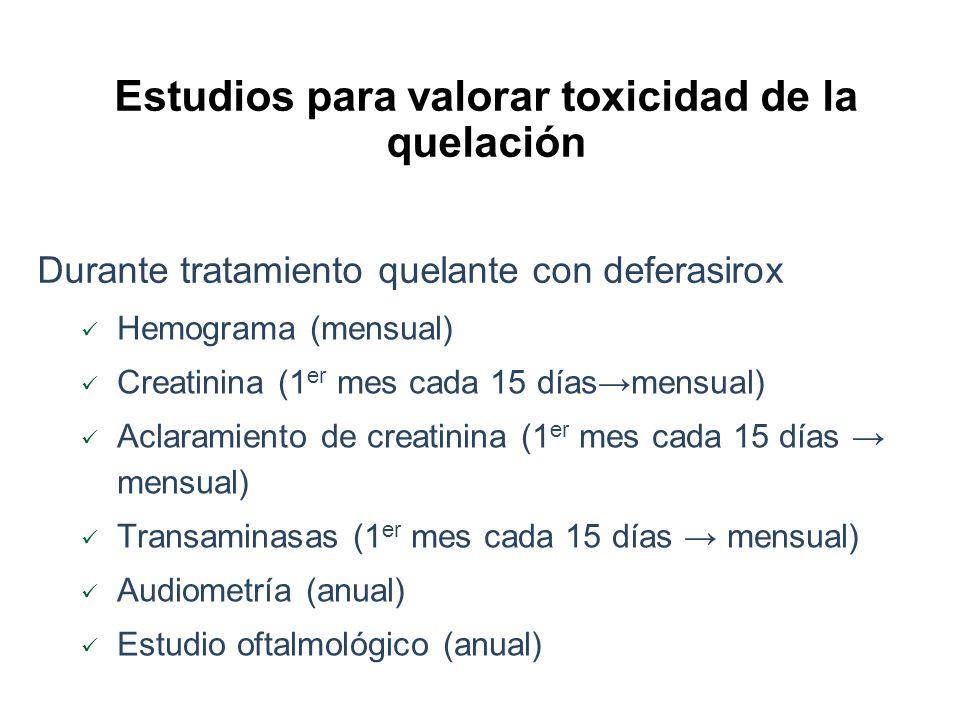 Estudios para valorar toxicidad de la quelación
