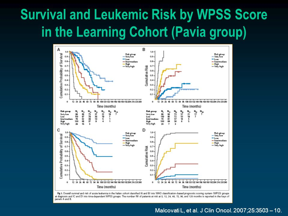 Survival and Leukemic Risk by WPSS Score in the Learning Cohort (Pavia group)