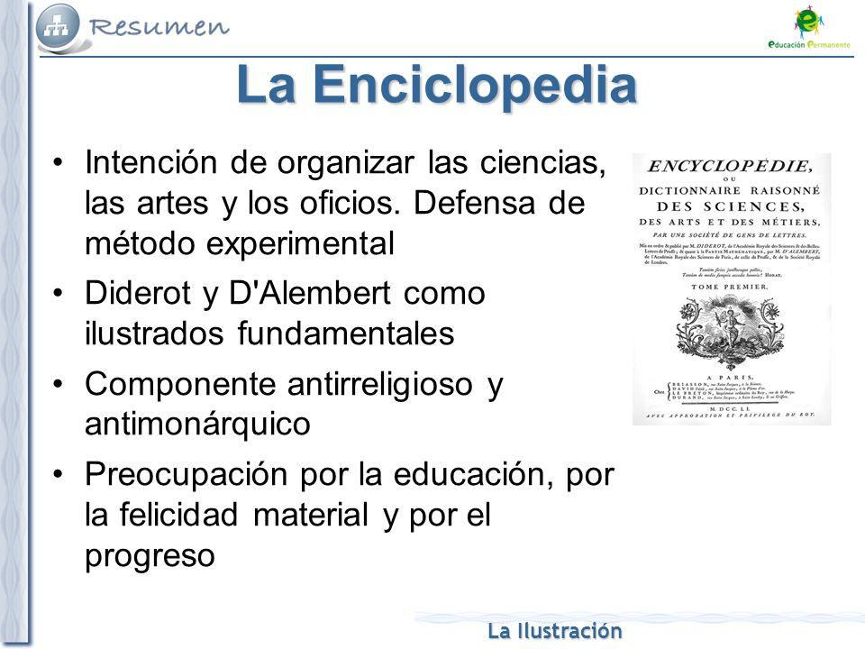 La Enciclopedia Intención de organizar las ciencias, las artes y los oficios. Defensa de método experimental.