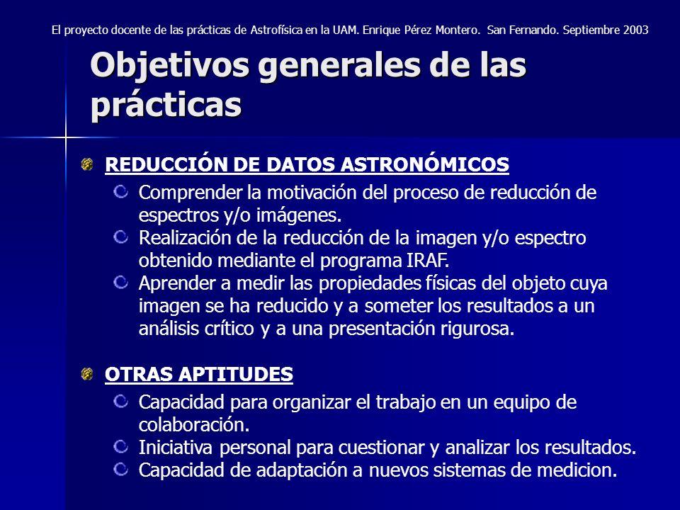 Objetivos generales de las prácticas