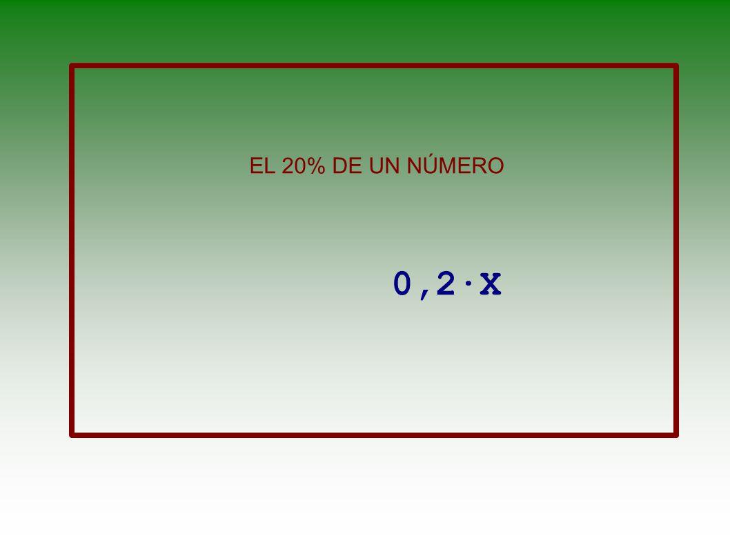 EL 20% DE UN NÚMERO 0,2·X