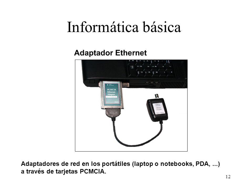 Informática básica Adaptadores de red en los portátiles (laptop o notebooks, PDA, ...) a través de tarjetas PCMCIA.