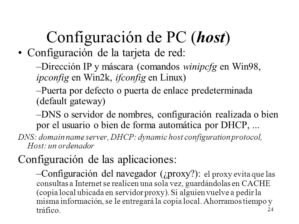 Configuración de PC (host)