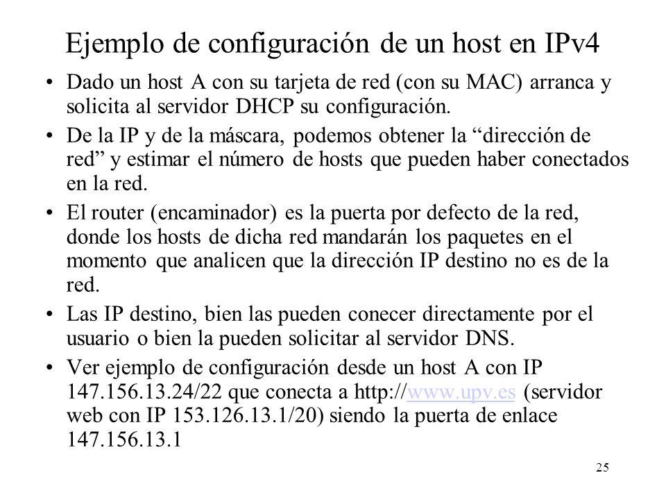 Ejemplo de configuración de un host en IPv4