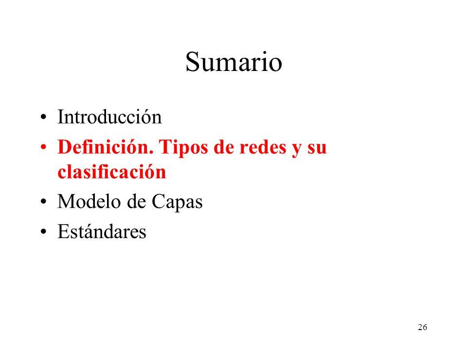 Sumario Introducción Definición. Tipos de redes y su clasificación