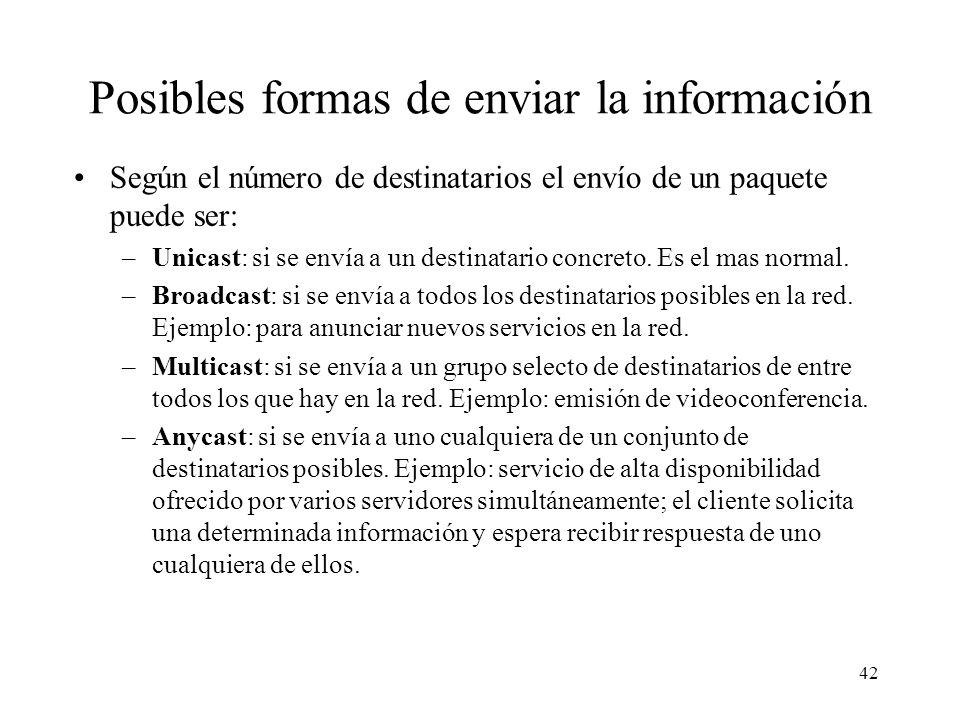 Posibles formas de enviar la información