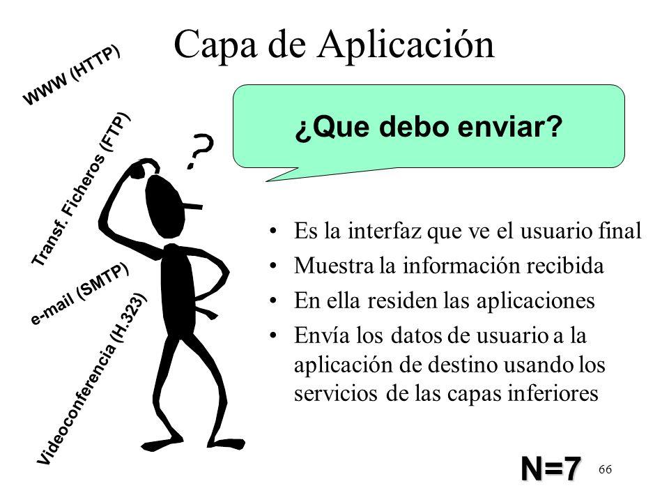 Capa de Aplicación N=7 ¿Que debo enviar