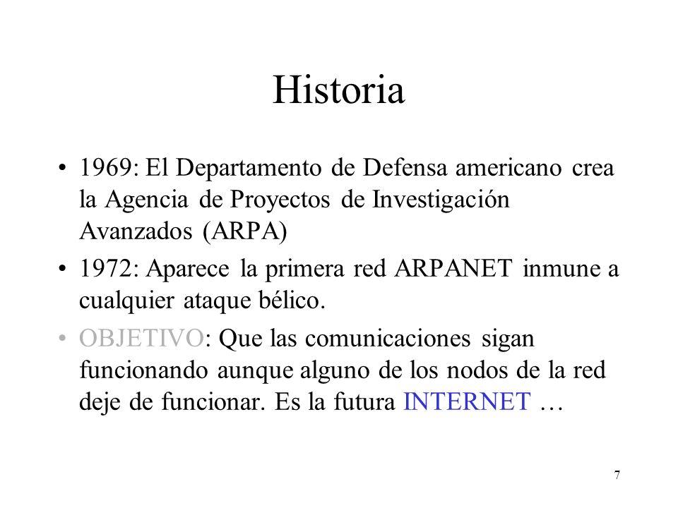 Historia 1969: El Departamento de Defensa americano crea la Agencia de Proyectos de Investigación Avanzados (ARPA)