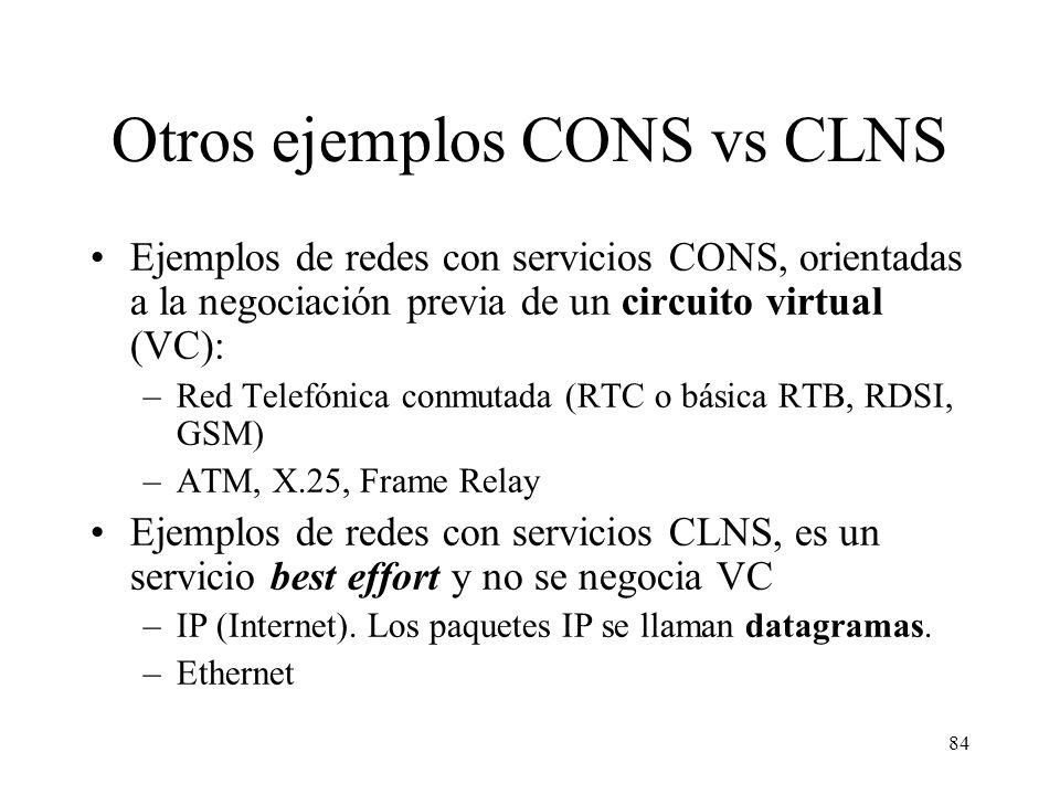 Otros ejemplos CONS vs CLNS