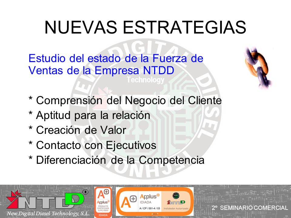 NUEVAS ESTRATEGIAS Estudio del estado de la Fuerza de Ventas de la Empresa NTDD. * Comprensión del Negocio del Cliente.