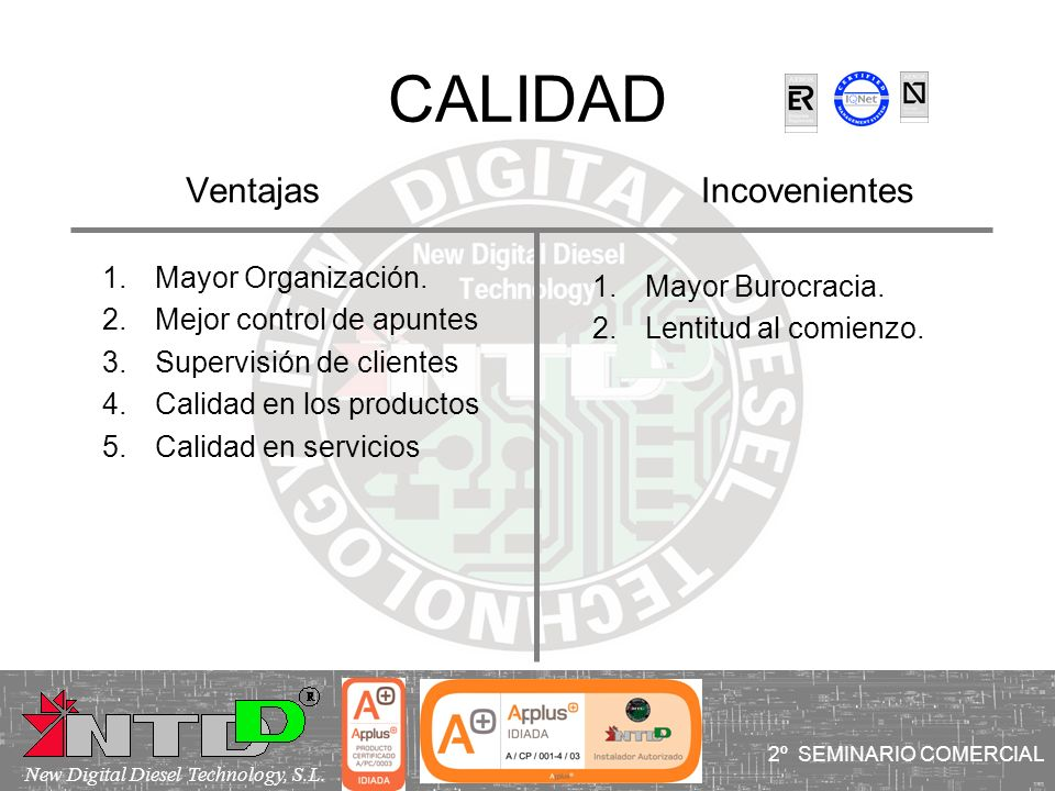 CALIDAD Ventajas Incovenientes Mayor Organización. Mayor Burocracia.