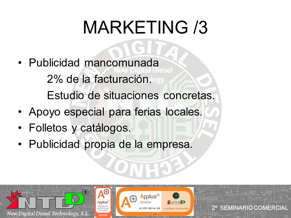 MARKETING /3 Publicidad mancomunada 2% de la facturación.
