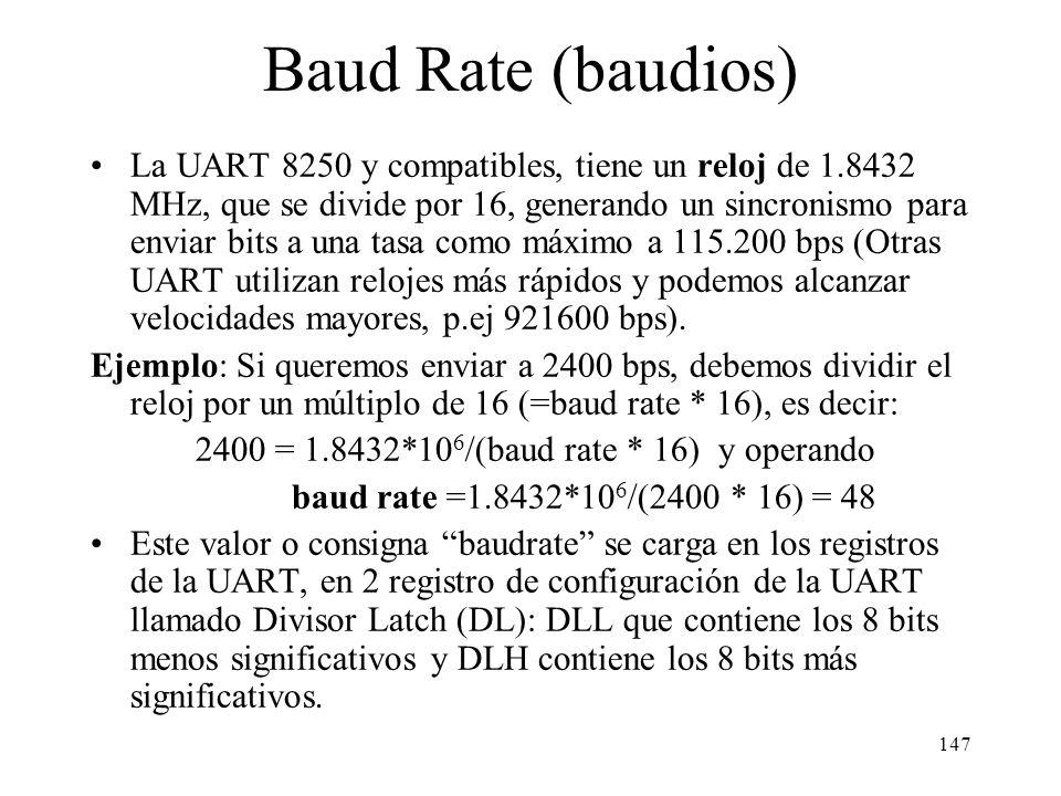 2400 = 1.8432*106/(baud rate * 16) y operando
