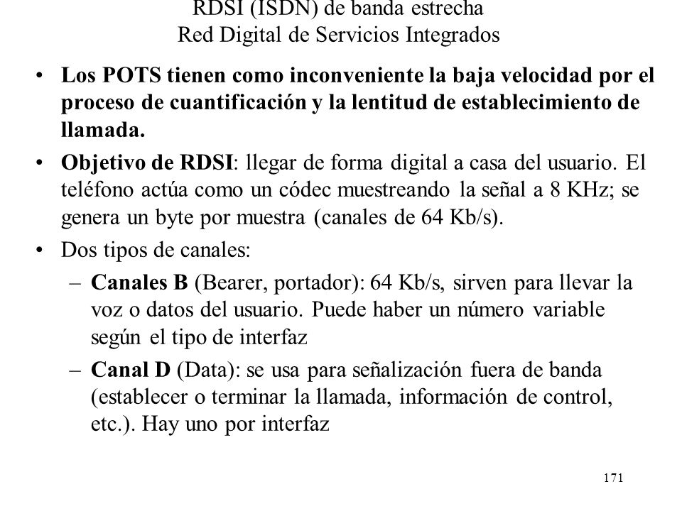 RDSI (ISDN) de banda estrecha Red Digital de Servicios Integrados
