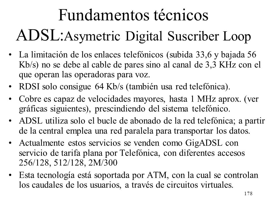 Fundamentos técnicos ADSL:Asymetric Digital Suscriber Loop