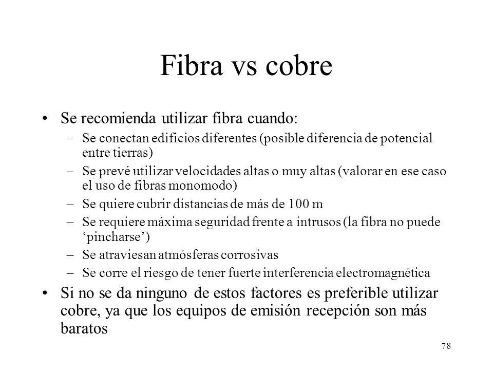 Fibra vs cobre Se recomienda utilizar fibra cuando:
