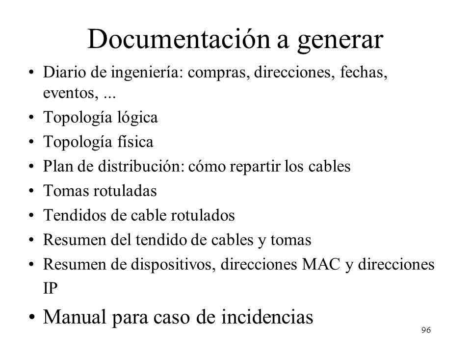 Documentación a generar