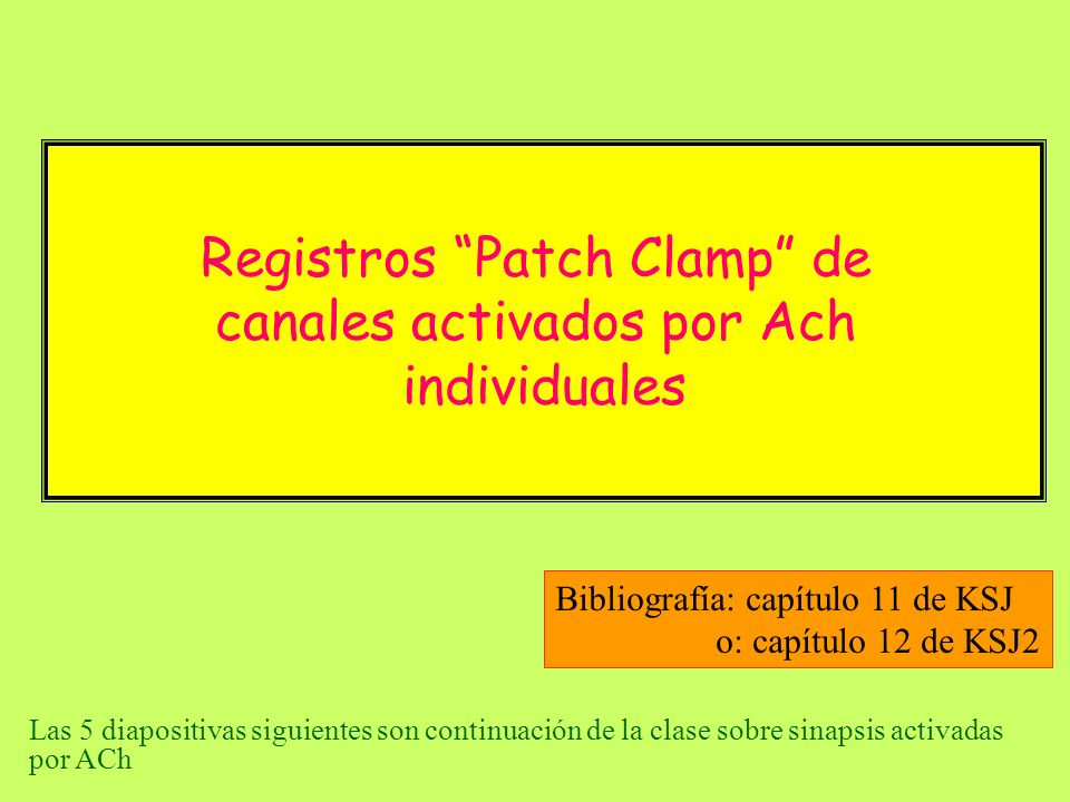 Registros Patch Clamp de canales activados por Ach individuales