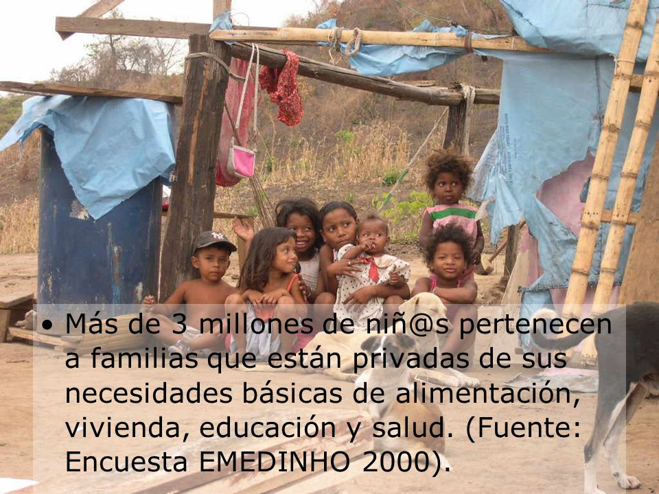 Más de 3 millones de niñ@s pertenecen a familias que están privadas de sus necesidades básicas de alimentación, vivienda, educación y salud.