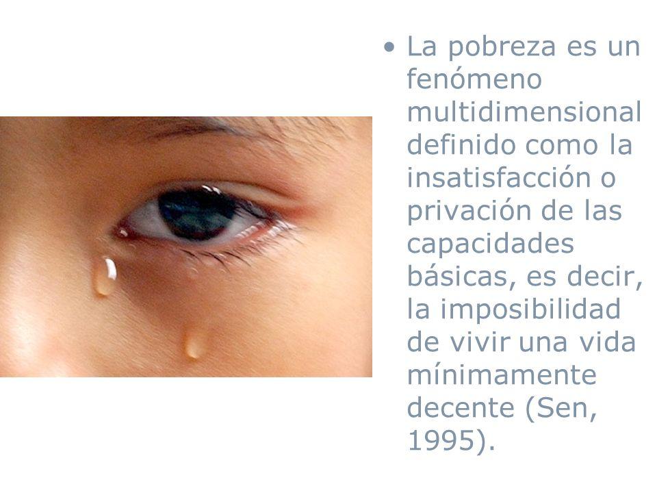 La pobreza es un fenómeno multidimensional definido como la insatisfacción o privación de las capacidades básicas, es decir, la imposibilidad de vivir una vida mínimamente decente (Sen, 1995).