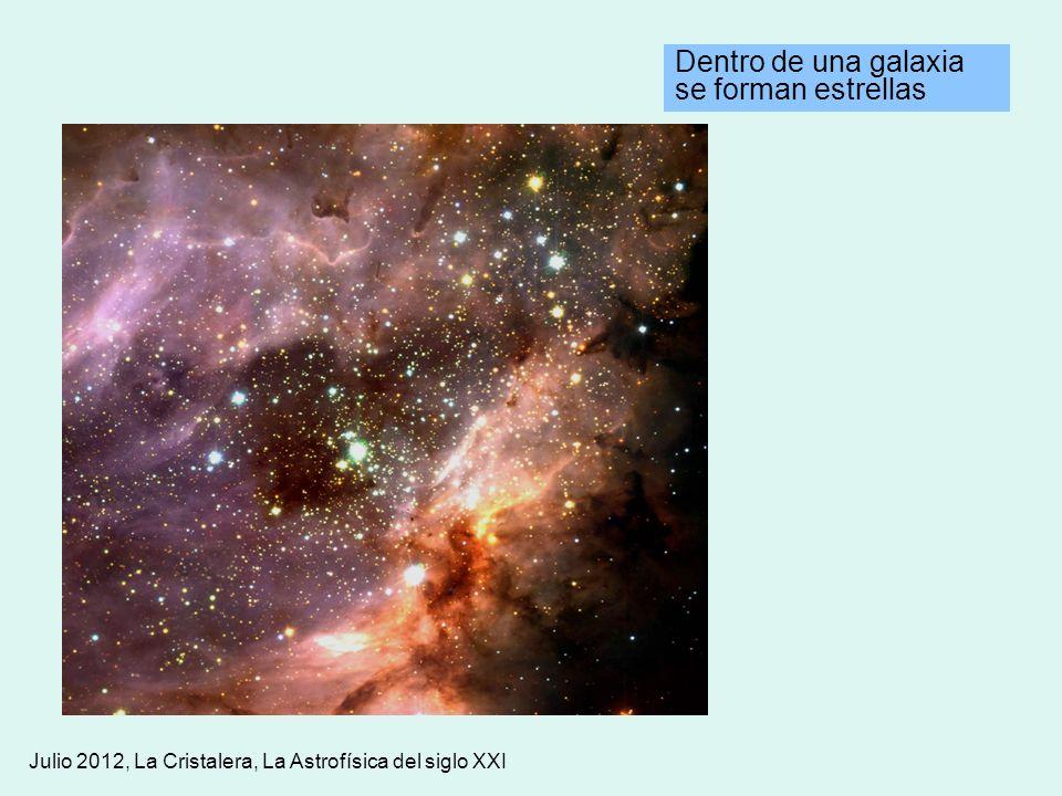 Dentro de una galaxia se forman estrellas