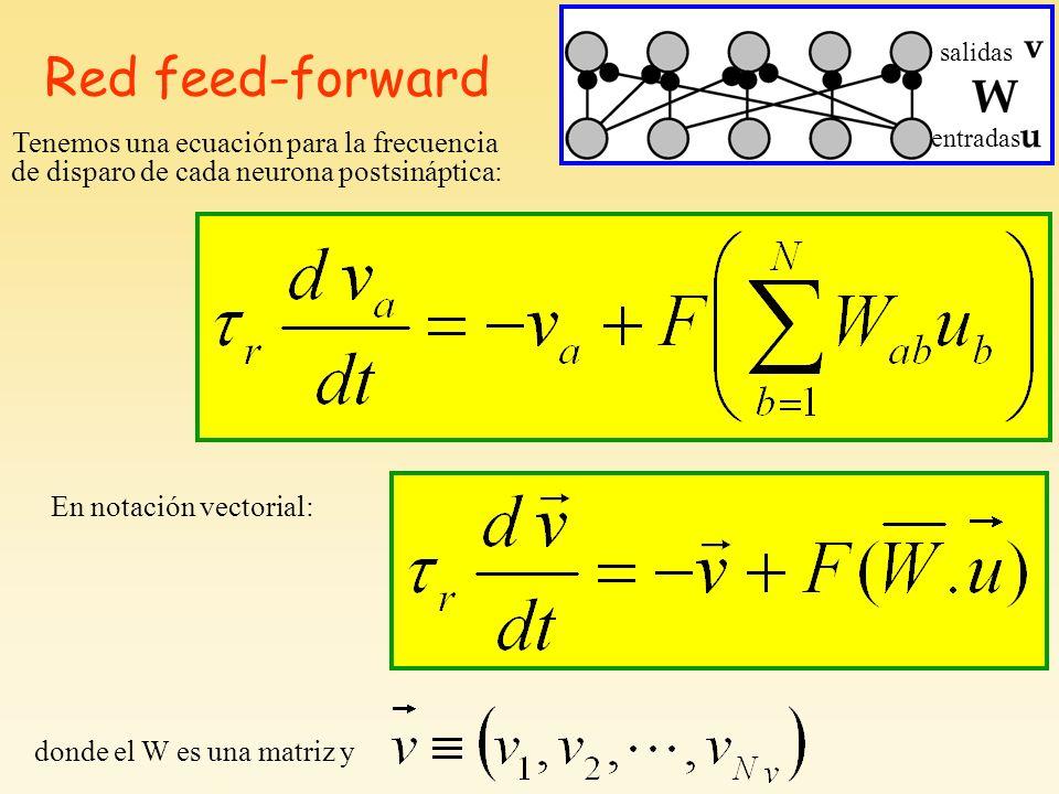 Red feed-forward Tenemos una ecuación para la frecuencia