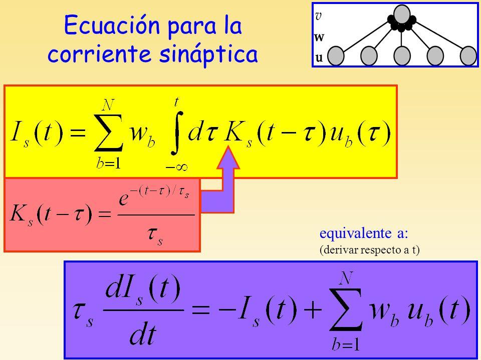 Ecuación para la corriente sináptica