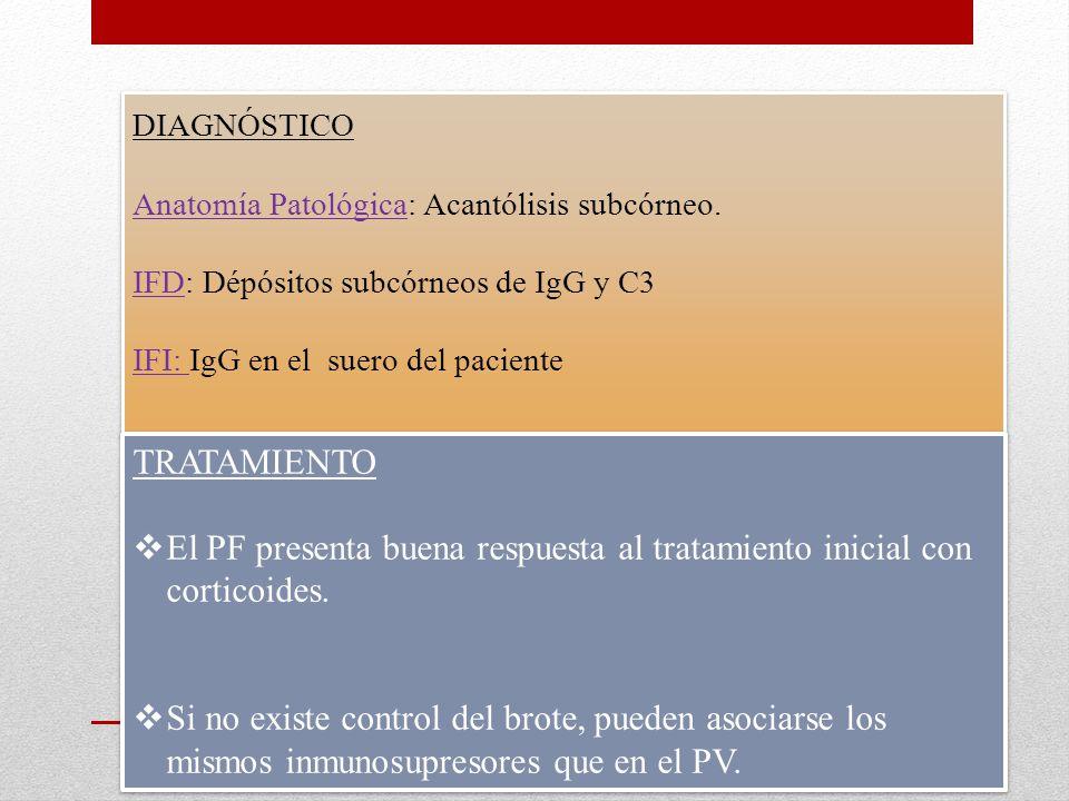 El PF presenta buena respuesta al tratamiento inicial con corticoides.