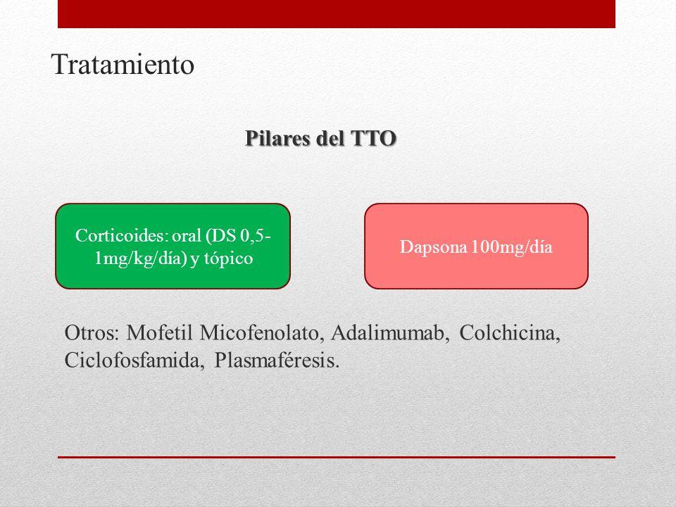 Corticoides: oral (DS 0,5-1mg/kg/día) y tópico