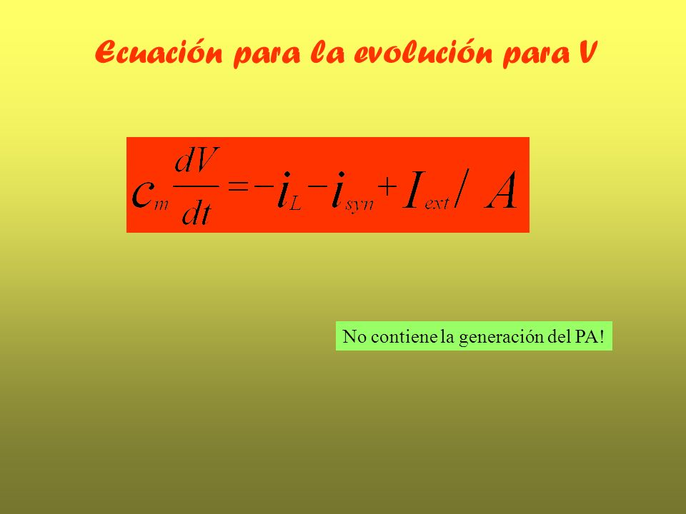 Ecuación para la evolución para V