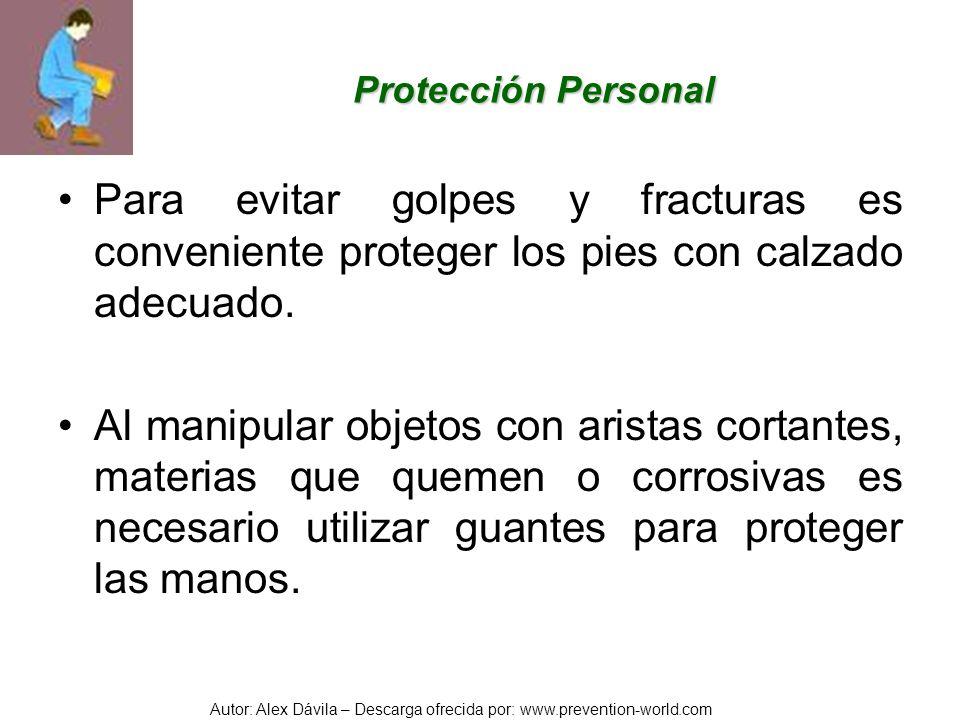 Protección PersonalPara evitar golpes y fracturas es conveniente proteger los pies con calzado adecuado.