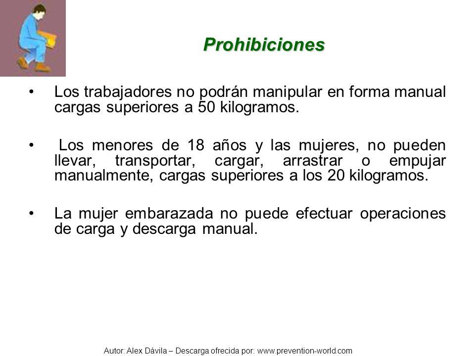 ProhibicionesLos trabajadores no podrán manipular en forma manual cargas superiores a 50 kilogramos.