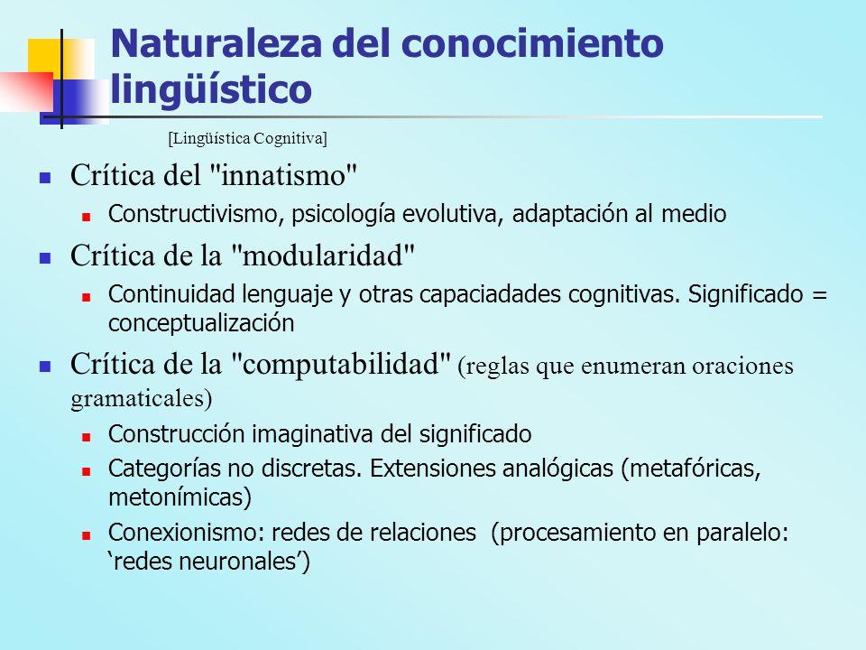 Naturaleza del conocimiento lingüístico