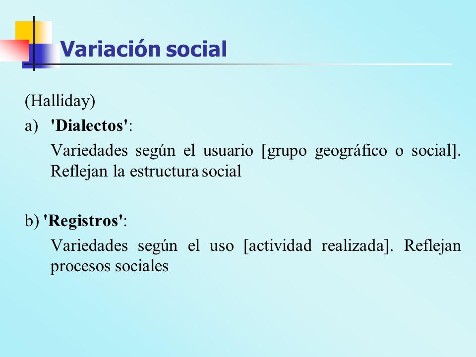 Variación social (Halliday) a) Dialectos :