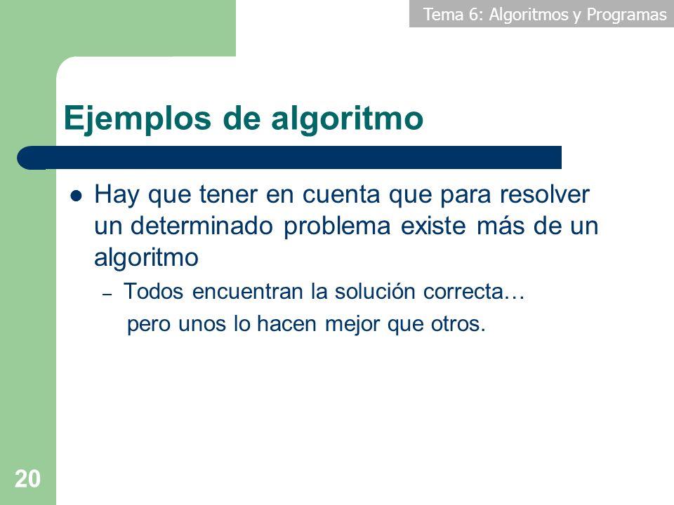 Ejemplos de algoritmo Hay que tener en cuenta que para resolver un determinado problema existe más de un algoritmo.