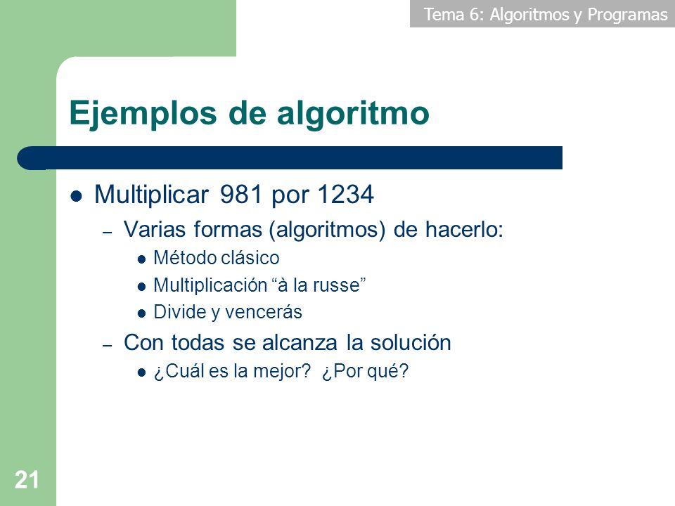 Ejemplos de algoritmo Multiplicar 981 por 1234