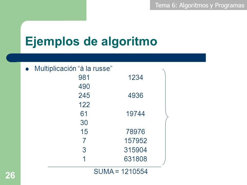 Ejemplos de algoritmo Multiplicación à la russe 981 1234 490