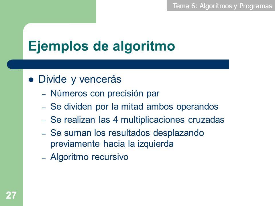 Ejemplos de algoritmo Divide y vencerás Números con precisión par