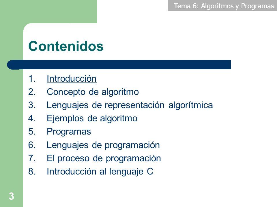 Contenidos Introducción Concepto de algoritmo