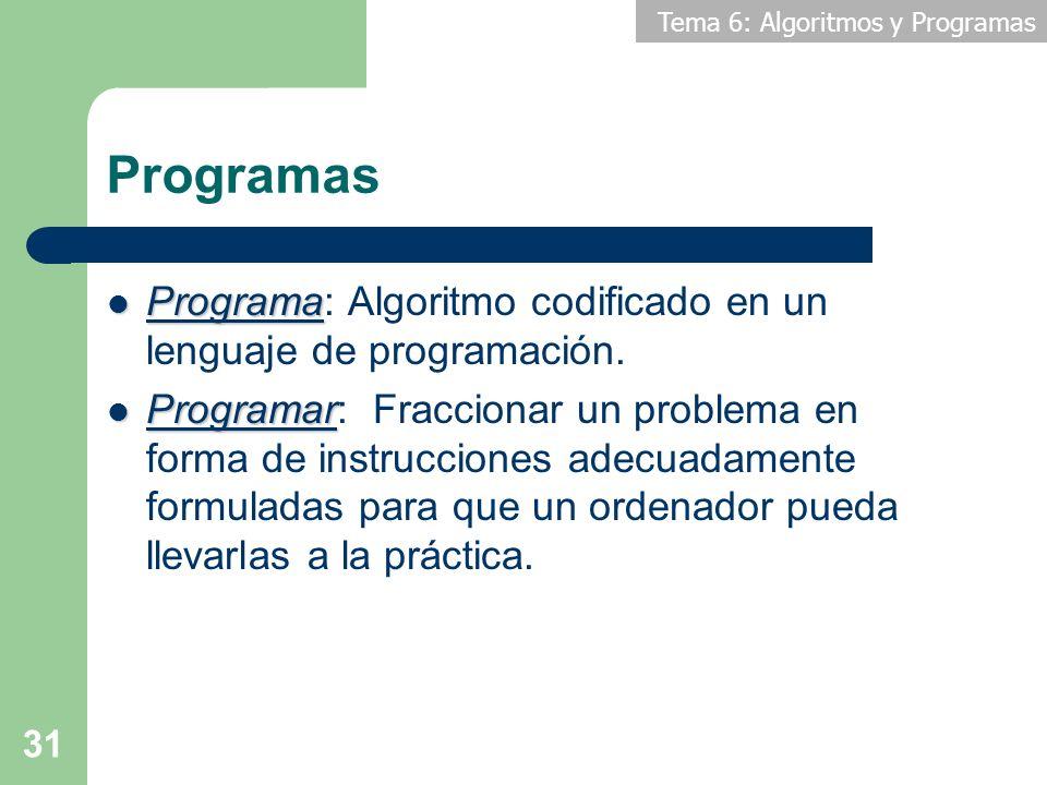 Programas Programa: Algoritmo codificado en un lenguaje de programación.