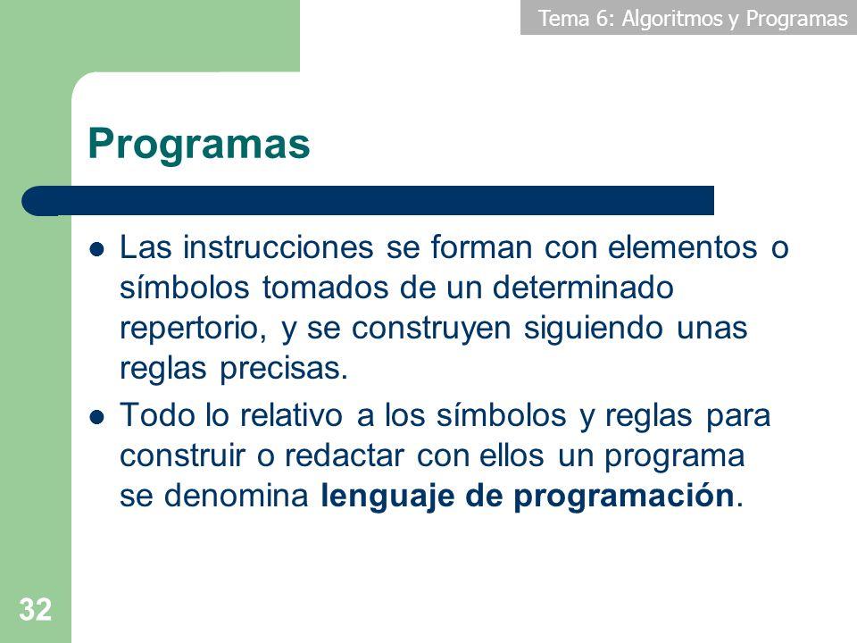 Programas Las instrucciones se forman con elementos o símbolos tomados de un determinado repertorio, y se construyen siguiendo unas reglas precisas.