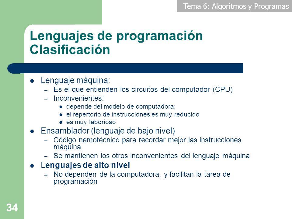 Lenguajes de programación Clasificación