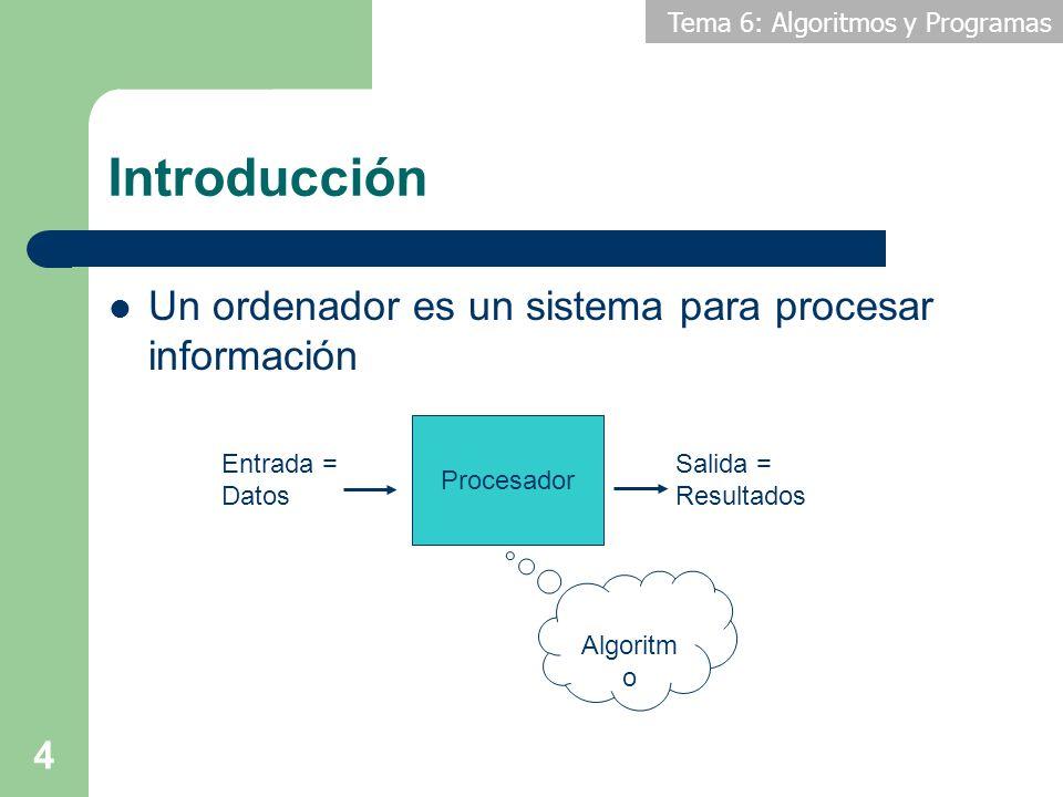 Introducción Un ordenador es un sistema para procesar información