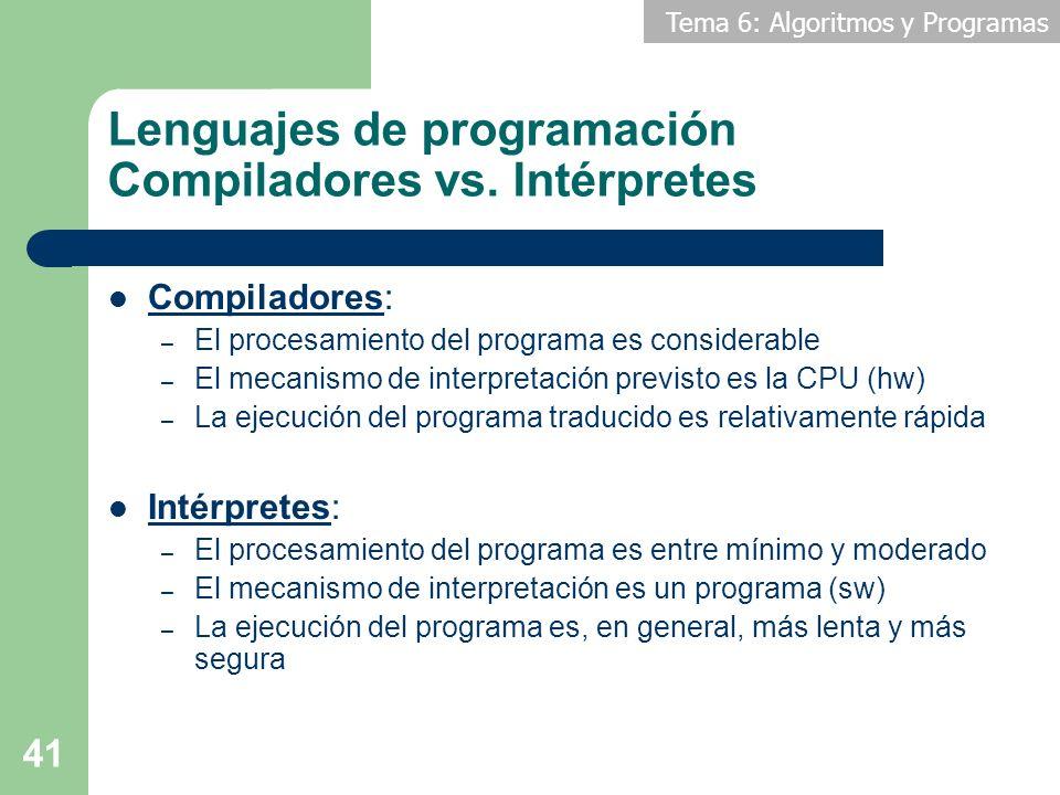 Lenguajes de programación Compiladores vs. Intérpretes
