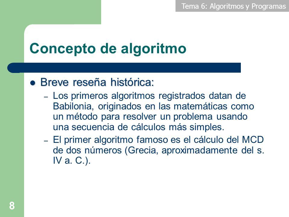 Concepto de algoritmo Breve reseña histórica: